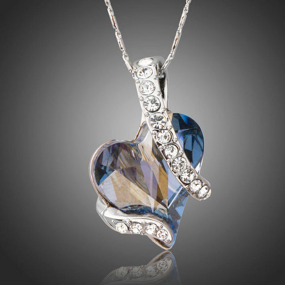 Light Blue Heart Pendant Necklace - KHAISTA Fashion Jewellery