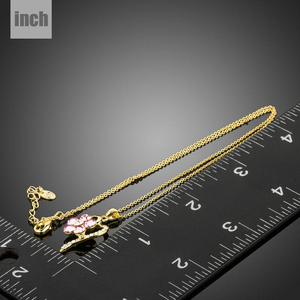 Light Gold Color Pink Crystal Flower Necklace KPN0199 - KHAISTA Fashion Jewellery
