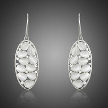 Load image into Gallery viewer, Light Grey Crystal Oval Drop Earrings - KHAISTA Fashion Jewellery