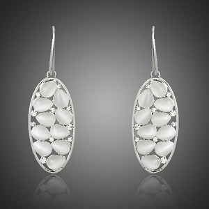 Light Grey Crystal Oval Drop Earrings - KHAISTA Fashion Jewellery