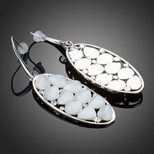 Load image into Gallery viewer, Light Grey Crystal Oval Drop Earrings-khaista-MJE0248-2
