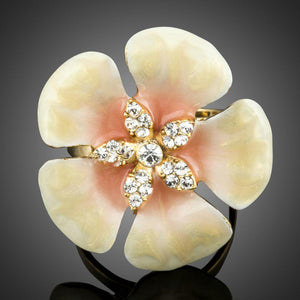 Light Yellow Flower Oil Painting Crystal Adjustable Ring - KHAISTA Fashion Jewellery