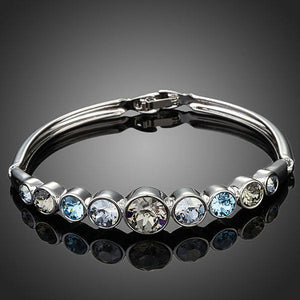 Lightweight Platinum Plated Crystal Bangle - KHAISTA Fashion Jewellery