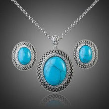 Load image into Gallery viewer, Lime Blue Round Turquoise Ellipse Pendant Necklace + Stud Earring Set - KHAISTA Fashion Jewellery