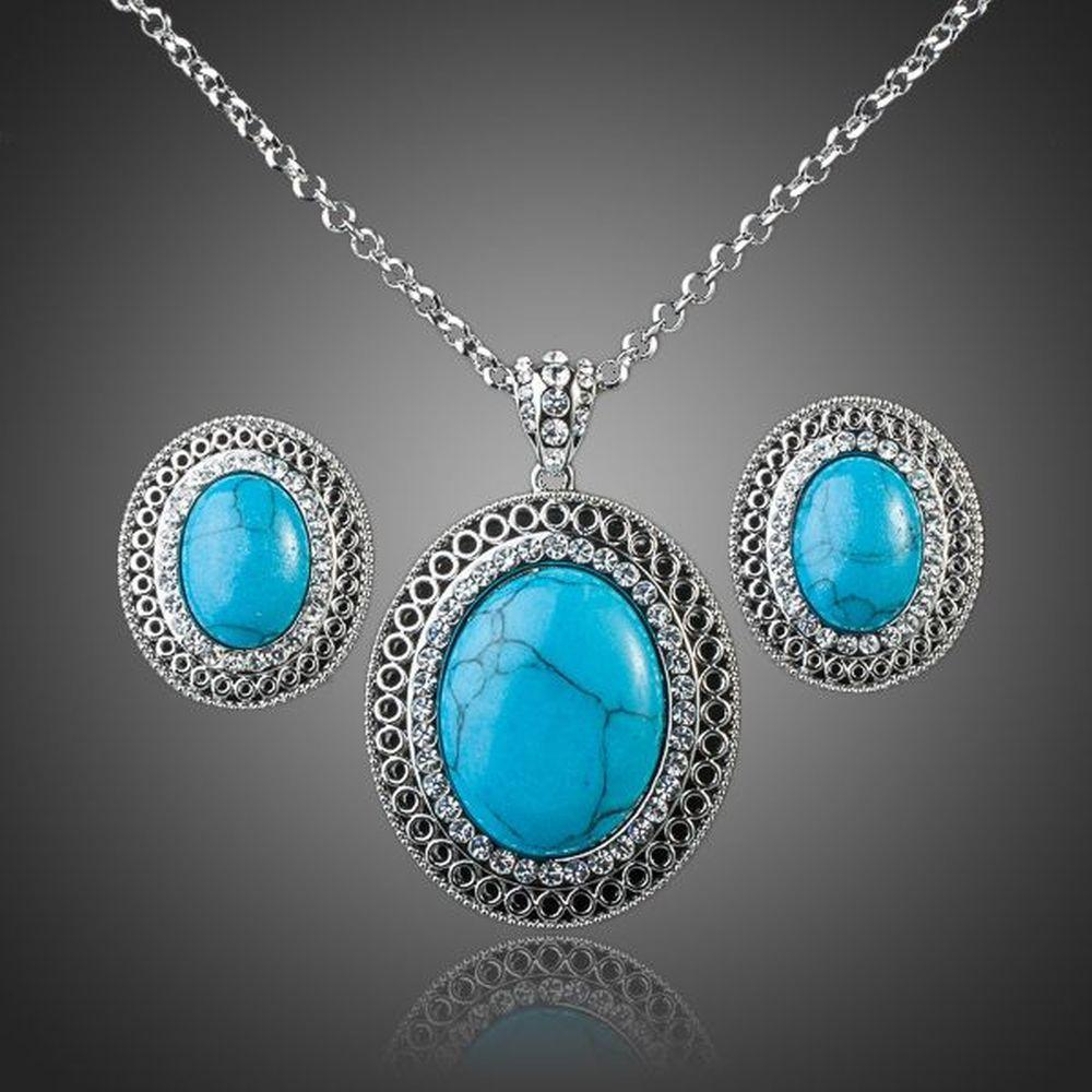 Lime Blue Round Turquoise Ellipse Pendant Necklace + Stud Earring Set - KHAISTA Fashion Jewellery