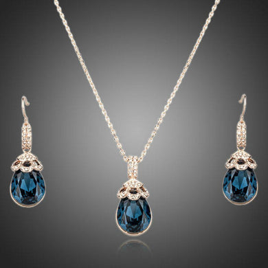 Limited Edition Blue Water Earrings and Necklace Set - KHAISTA Fashion Jewellery