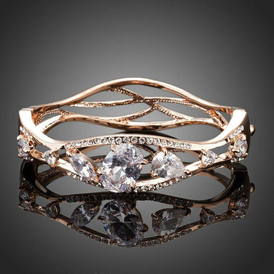 Limited Edition Gold Plated Cubic Zirconia Bangle - KHAISTA Fashion Jewellery