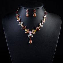 Load image into Gallery viewer, Limited Edition Multi color Crystal Water Drop Necklace + Earring Set - KHAISTA Fashion Jewellery