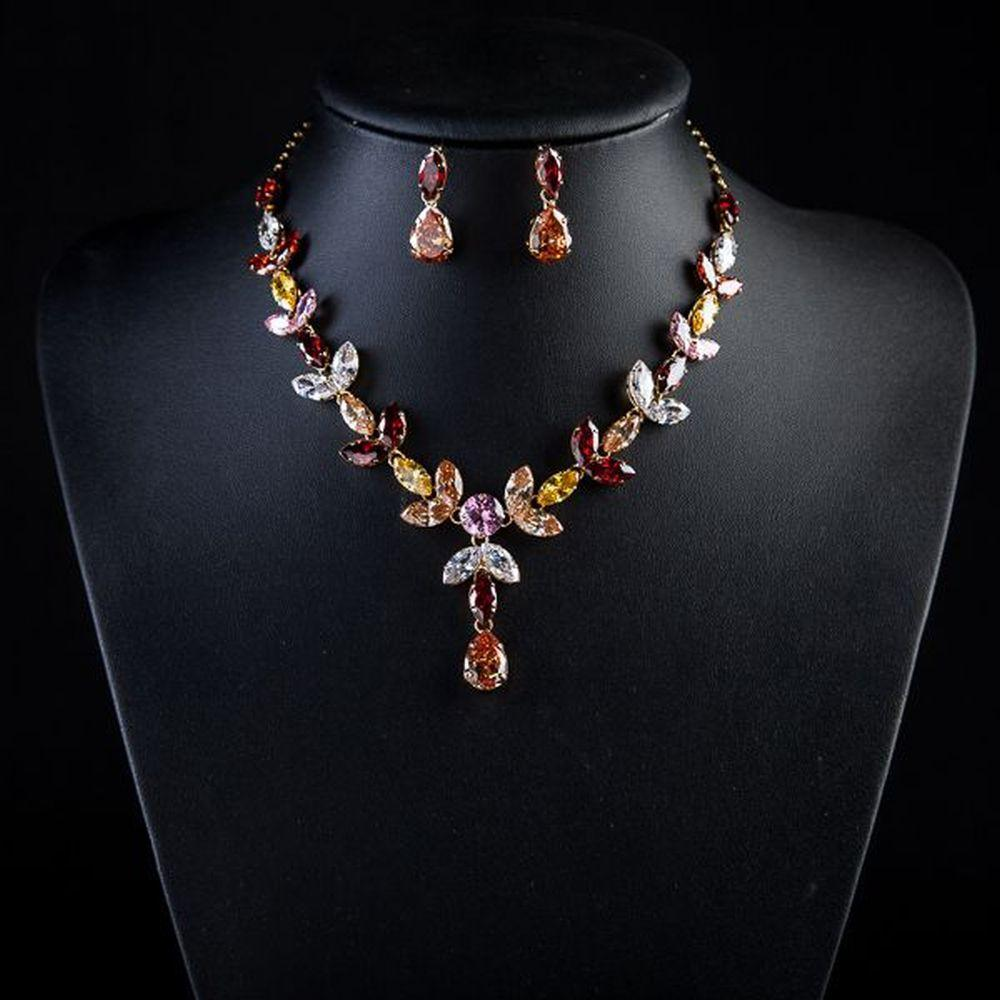 Limited Edition Multi color Crystal Water Drop Necklace + Earring Set - KHAISTA Fashion Jewellery
