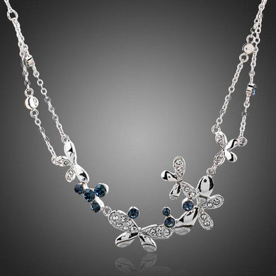 Linked Butterflies Crystal Pendant Necklace KPN0087 - KHAISTA Fashion Jewellery