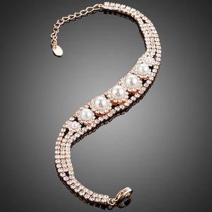 Lobster Cubic Zirconia With Pearls Bracelet - KHAISTA Fashion Jewellery