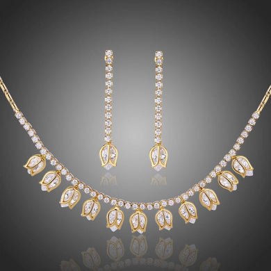 Lotus Necklace and Dangle Earrings Jewelry Set With High Level CZ Rhinestones - KHAISTA Fashion Jewellery