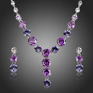 Luxury Cubic Zirconia Necklace and Drop Earrings Jewelry Set - KHAISTA Fashion Jewellery