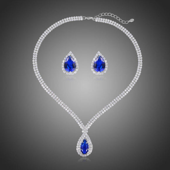Luxury Sparking Blue Cubic Zirconia Necklace Earrings Set - KHAISTA Fashion Jewellery