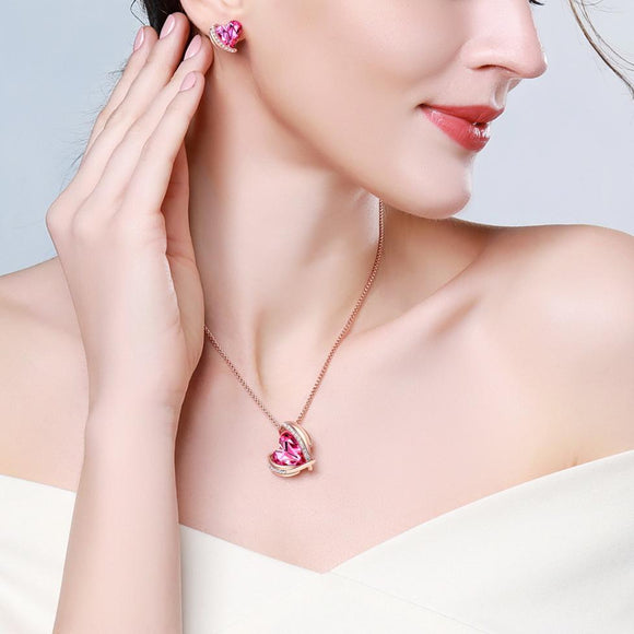 Magenta Crystal Heart Pendant Jewellery Set - KHAISTA Fashion Jewellery
