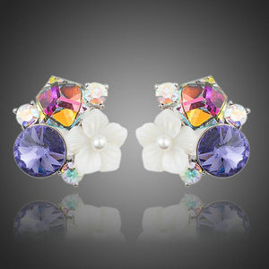 Multi-Color Flower Stud Earrings - KHAISTA Fashion Jewellery