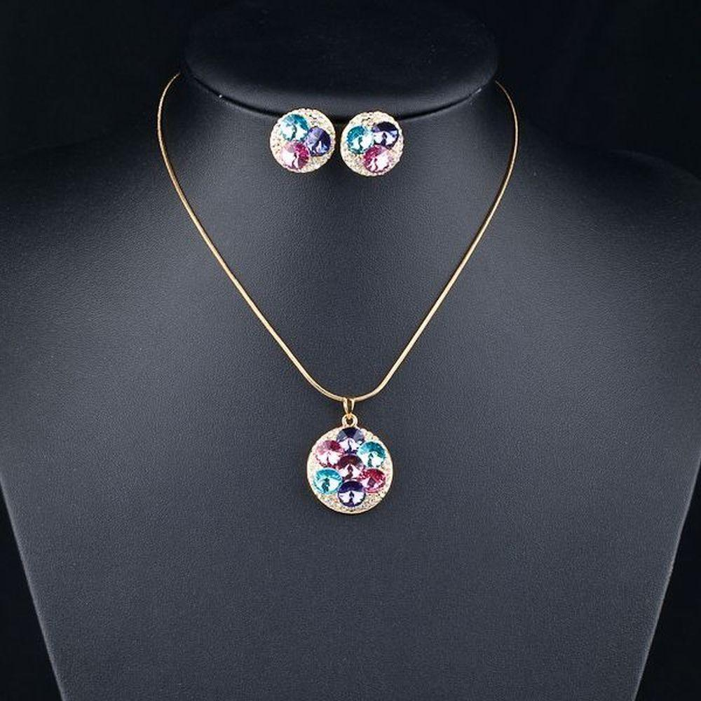 Multi Color Round Crystals Stud Earrings + Pendant Necklace Set - KHAISTA Fashion Jewellery