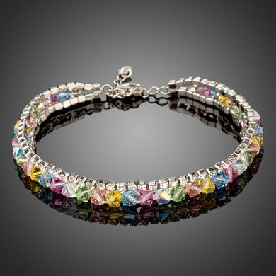 Multi Colored Lobster Crystal Bracelet - KHAISTA Fashion Jewellery