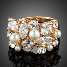 Load image into Gallery viewer, Multi-shape Cubic Zirconia Set with Simulated Pearls Ring - KHAISTA Fashion Jewellery