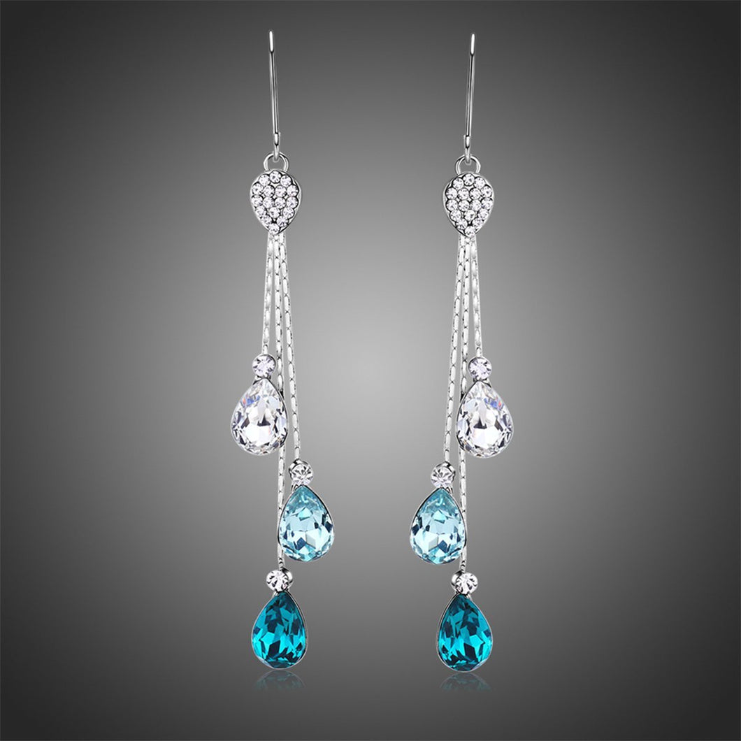 Multicolor Austrian Crystal Drop Earrings -KPE0342 - KHAISTA Fashion Jewellery