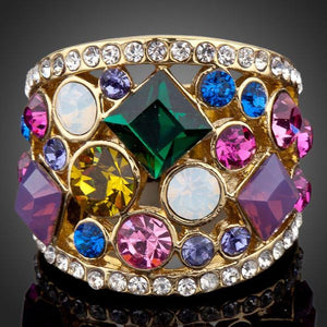 Multicolor Crystal Party Ring - KHAISTA Fashion Jewellery