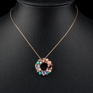 Multicolor Round Pendant Necklace - KHAISTA Fashion Jewellery