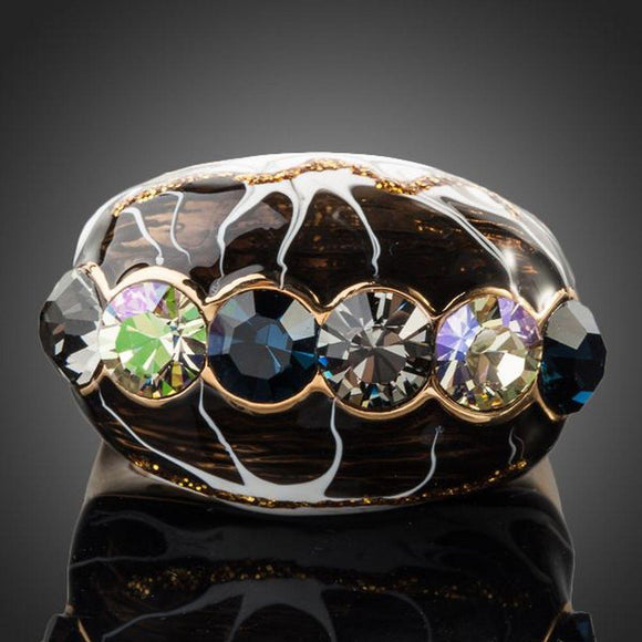 Multicolour Crystal Artistic Ring -KFR0093 - KHAISTA