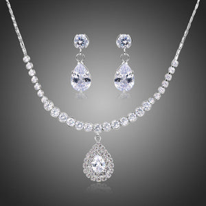 Nigerian Water Drop Cubic Zirconia Wedding Jewelry Set - KHAISTA Fashion Jewellery