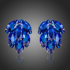 Ocean Blue Cubic Zirconia Stud Earrings - KHAISTA Fashion Jewellery