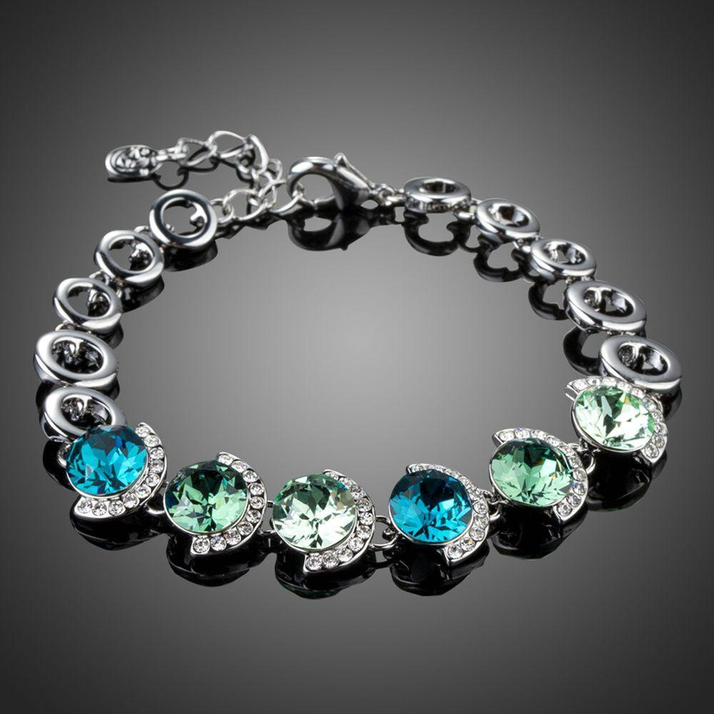 Ocean Crystal Platinum Plated Charm Bracelet - KHAISTA Fashion Jewellery