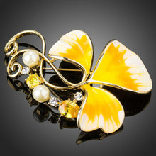 Load image into Gallery viewer, Oil Painting Leaf Pattern Yellow Flower Brooch Pin - KHAISTA Fashion Jewellery