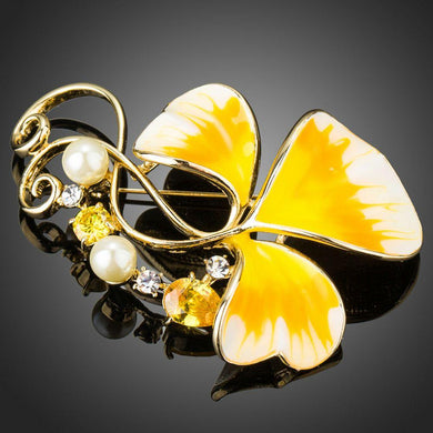 Oil Painting Leaf Pattern Yellow Flower Brooch Pin - KHAISTA Fashion Jewellery