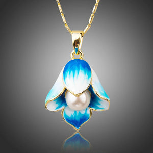Oil Painting Pearl Flower Necklace KPN0205 - KHAISTA Fashion Jewellery