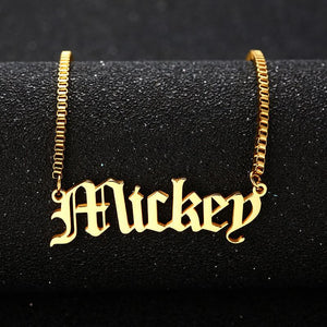 Old English Design Custom Name Necklace - KHAISTA