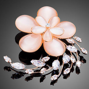 Opal Flower Pin Brooch for Women - KHAISTA Fashion Jewellery