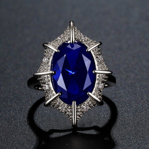 Oval Blue Cubic Zirconia White Gold Ring - KHAISTA Fashion Jewellery