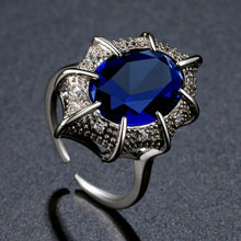 Load image into Gallery viewer, Oval Blue Cubic Zirconia White Gold Ring - KHAISTA Fashion Jewellery