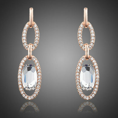 Oval Chain Link Crystal Drop Earrings - KHAISTA Fashion Jewellery
