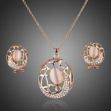 Load image into Gallery viewer, Oval Clip Earrings and Pendant Necklace Set - KHAISTA Fashion Jewellery