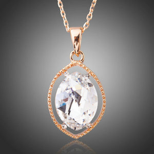 Oval Crystal Pendant KPN0196 - KHAISTA Fashion Jewellery