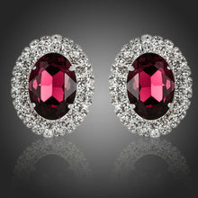 Load image into Gallery viewer, Oval Maroon Cubic Zirconia Stud Earrings - KHAISTA Fashion Jewellery