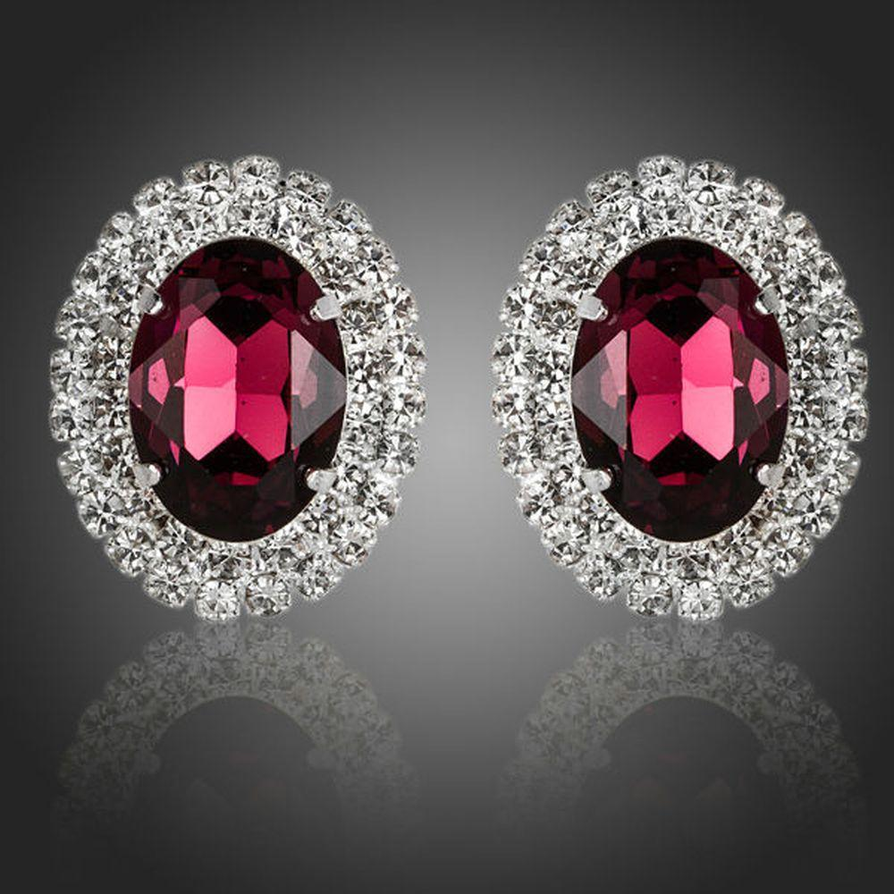 Oval Maroon Cubic Zirconia Stud Earrings - KHAISTA Fashion Jewellery