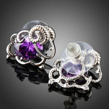 Load image into Gallery viewer, Oval Purple Cubic Zirconia Stud Earrings -KPE0291 - KHAISTA Fashion Jewellery