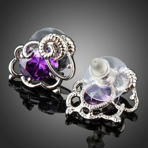 Oval Purple Cubic Zirconia Stud Earrings -KPE0291 - KHAISTA Fashion Jewellery
