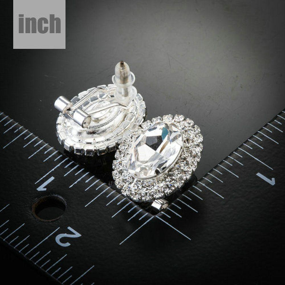 Oval Thick Silver Cubic Zirconia Stud Earrings - KHAISTA Fashion Jewellery