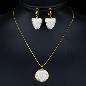 Panther Head Clip Earrings + Pendant Necklace Set - KHAISTA Fashion Jewellery