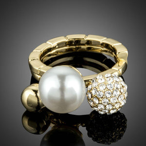 Pave Crystal Round Ball Ring - KHAISTA Fashion Jewellery
