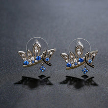 Load image into Gallery viewer, Paved Blue Cubic Zirconia Crown Stud Earrings -KFJE0419 - KHAISTA3