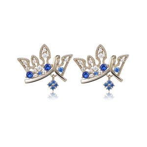 Paved Blue Cubic Zirconia Crown Stud Earrings -KFJE0419 - KHAISTA2