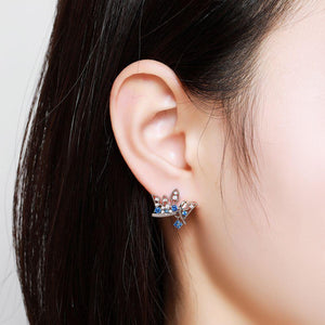 Paved Blue Cubic Zirconia Crown Stud Earrings -KFJE0419 - KHAISTA5
